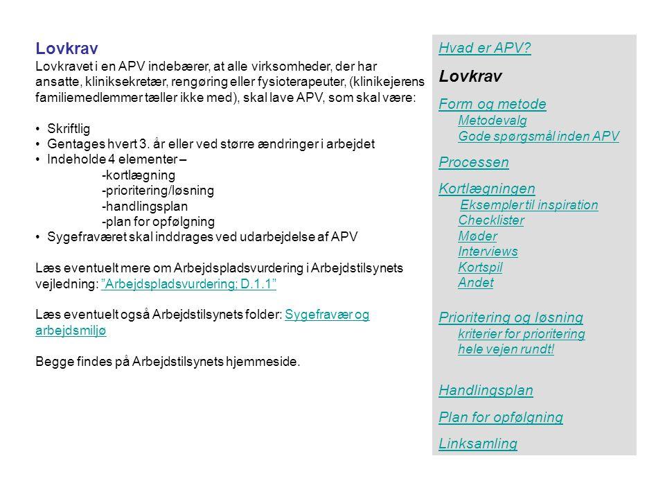 Lovkrav Lovkrav Hvad er APV Form og metode Processen