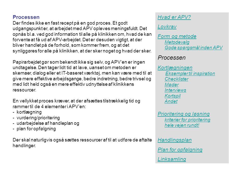 Processen Processen Hvad er APV Lovkrav Form og metode