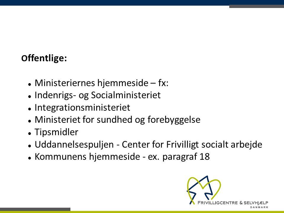 Ministeriernes hjemmeside – fx: Indenrigs- og Socialministeriet