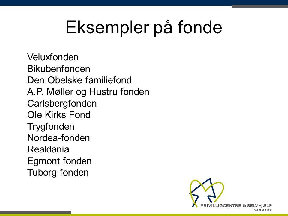 Eksempler på fonde Veluxfonden Bikubenfonden Den Obelske familiefond