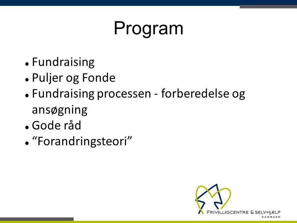 Program Fundraising Puljer og Fonde