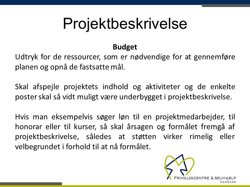 Projektbeskrivelse Budget