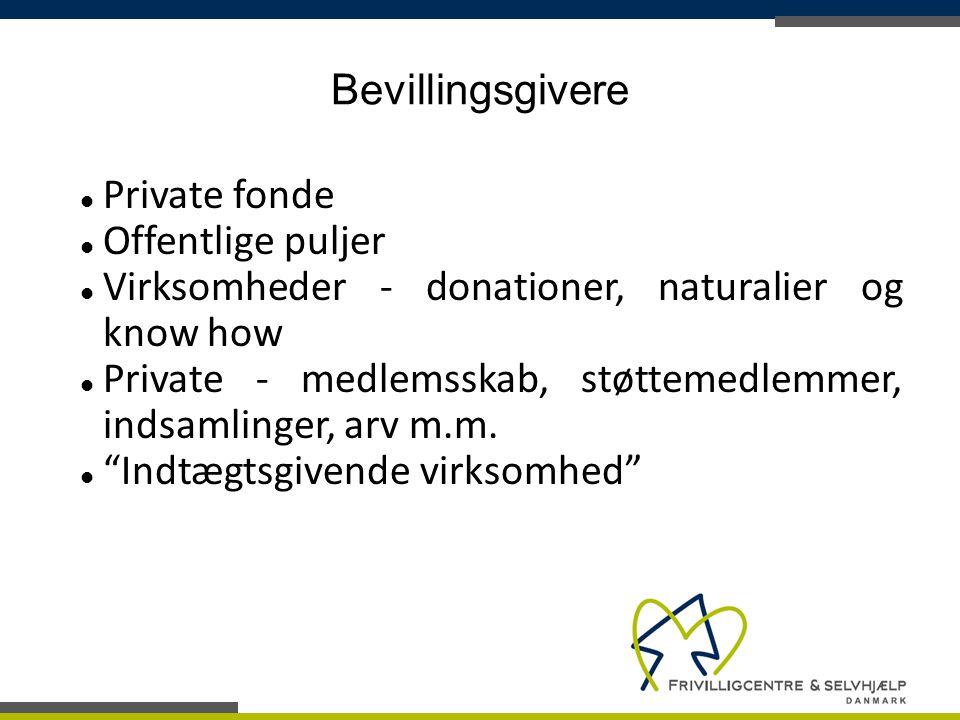 Bevillingsgivere Private fonde. Offentlige puljer. Virksomheder - donationer, naturalier og know how.