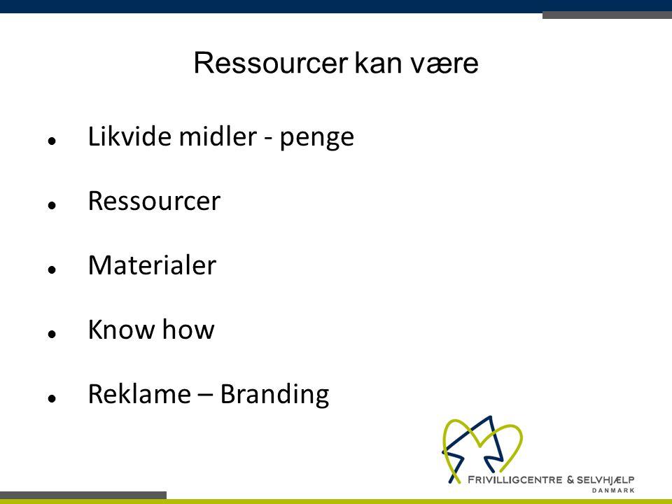 Ressourcer kan være Likvide midler - penge Ressourcer Materialer Know how Reklame – Branding