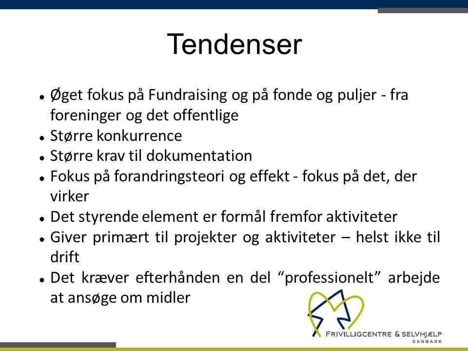 Tendenser Øget fokus på Fundraising og på fonde og puljer - fra foreninger og det offentlige. Større konkurrence.