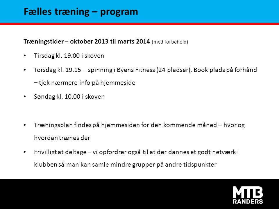 Fælles træning – program
