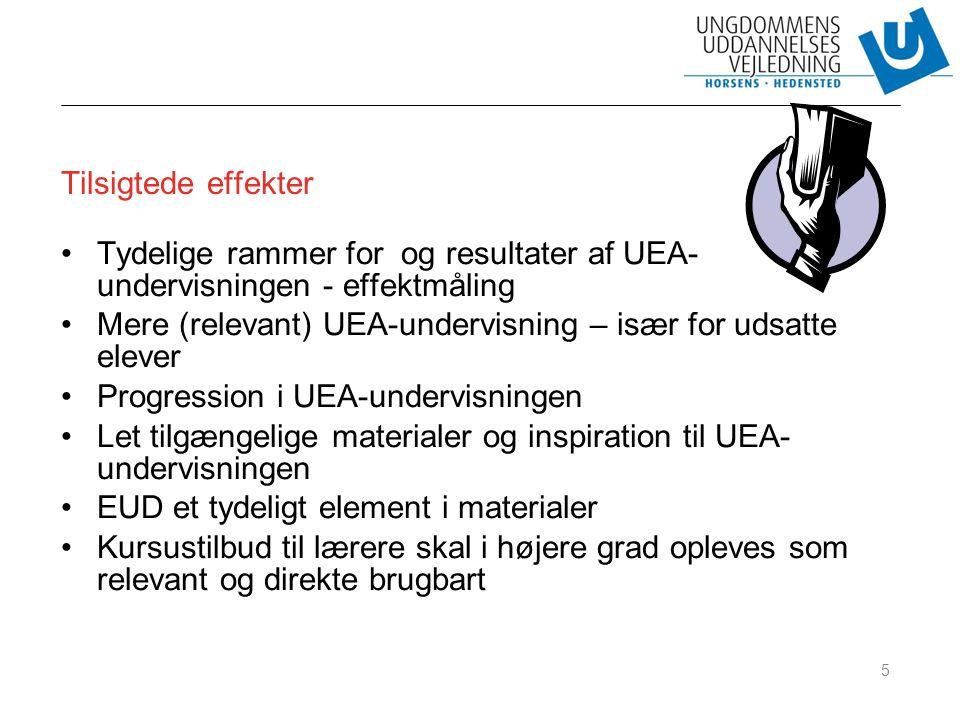 Tilsigtede effekter Tydelige rammer for og resultater af UEA-undervisningen - effektmåling.