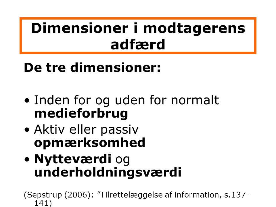 Dimensioner i modtagerens adfærd