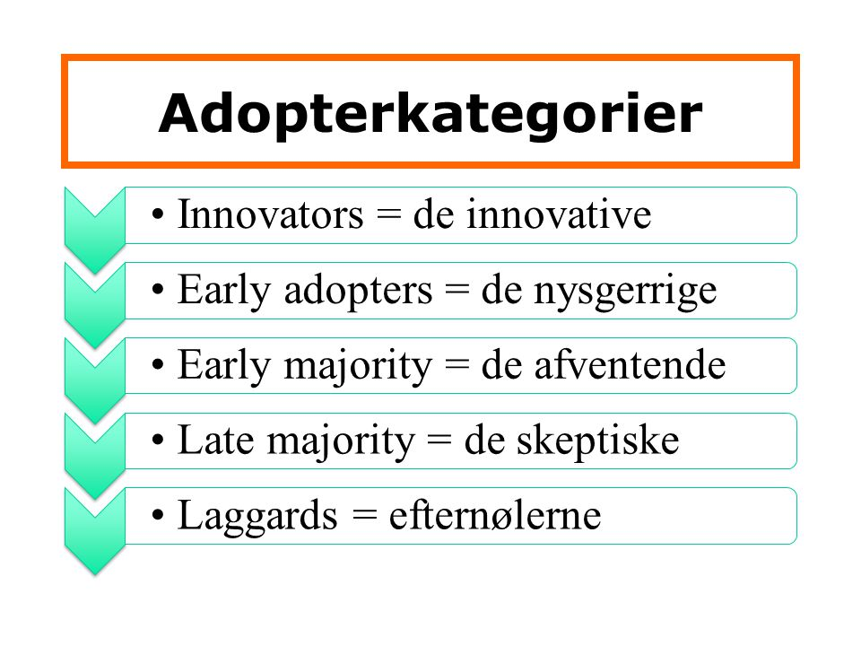 Adopterkategorier Innovators = de innovative