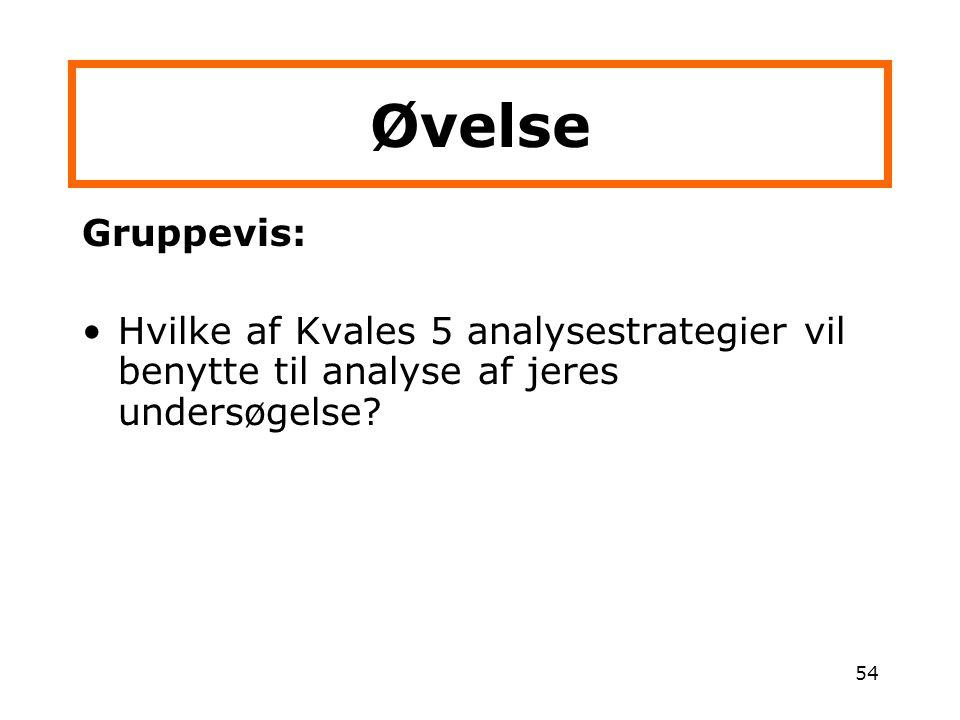Øvelse Gruppevis: Hvilke af Kvales 5 analysestrategier vil benytte til analyse af jeres undersøgelse