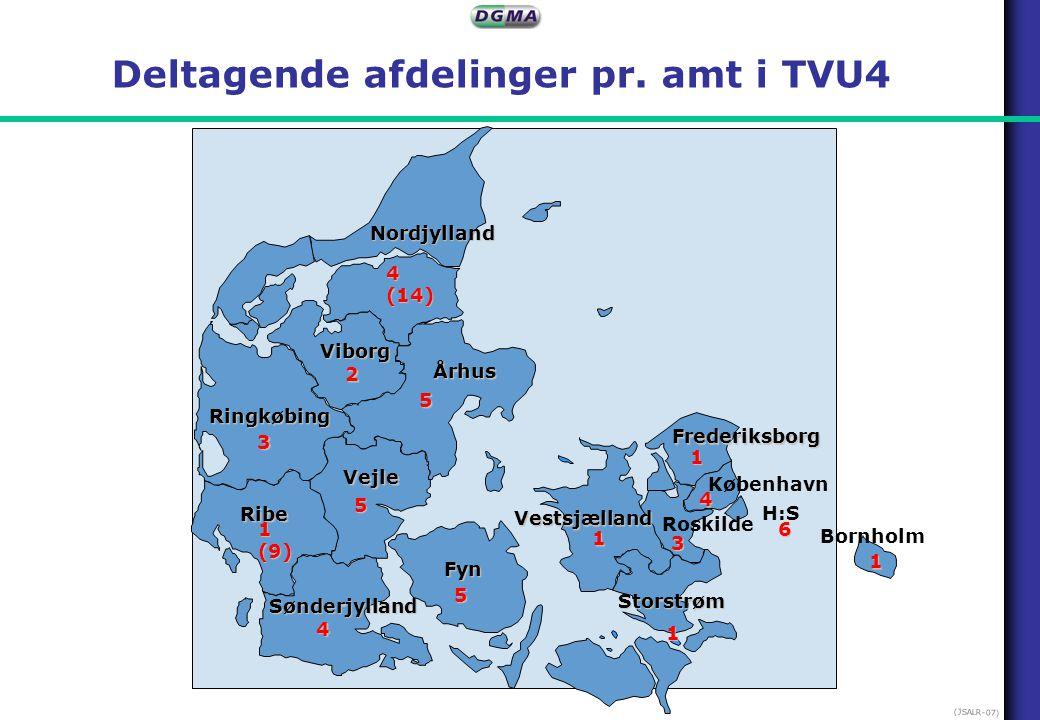 Deltagende afdelinger pr. amt i TVU4