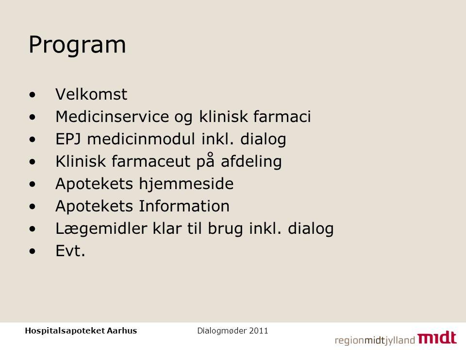 Program Velkomst Medicinservice og klinisk farmaci