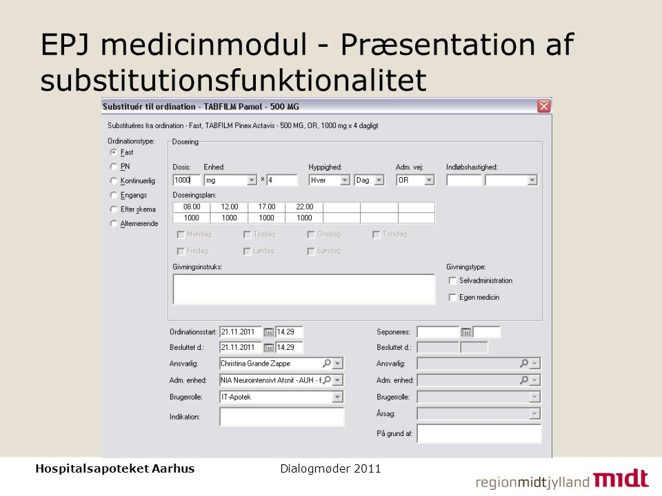 EPJ medicinmodul - Præsentation af substitutionsfunktionalitet