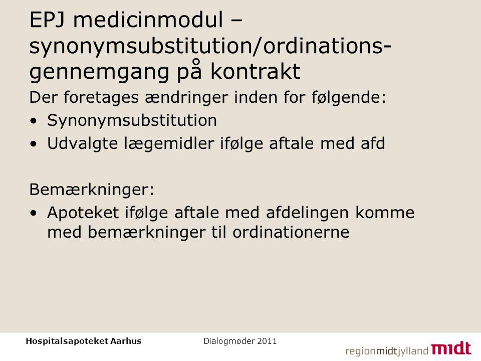 EPJ medicinmodul – synonymsubstitution/ordinations-gennemgang på kontrakt
