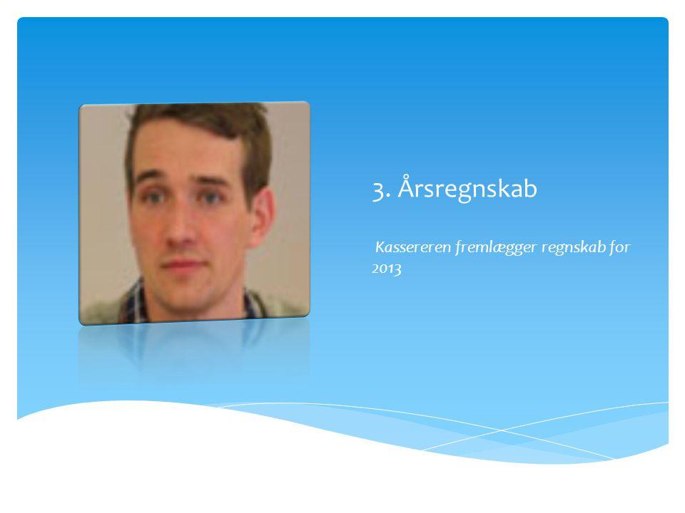 3. Årsregnskab Kassereren fremlægger regnskab for 2013