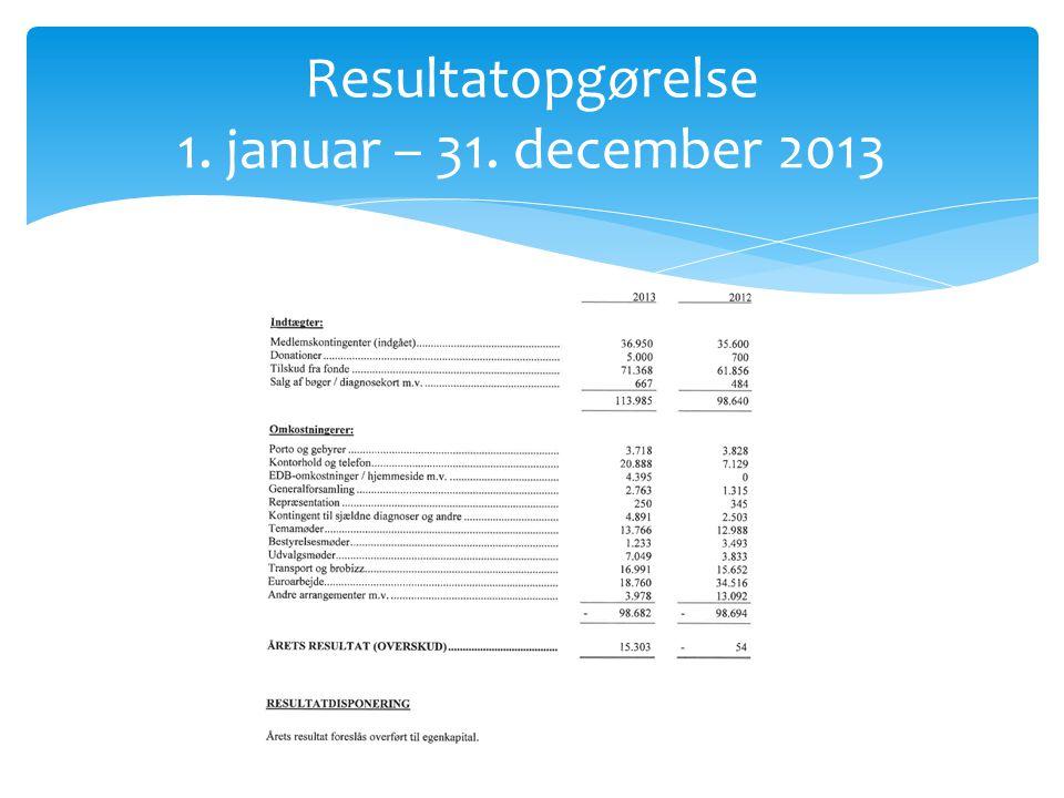 Resultatopgørelse 1. januar – 31. december 2013