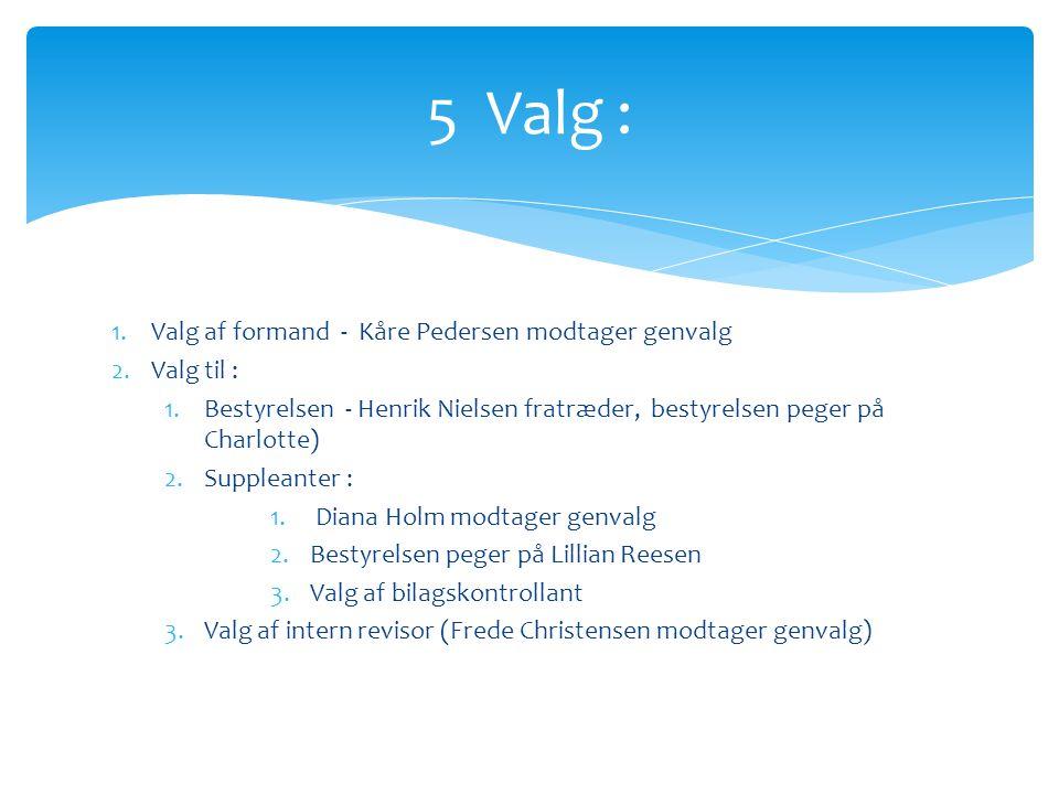 5 Valg : Valg af formand - Kåre Pedersen modtager genvalg Valg til :