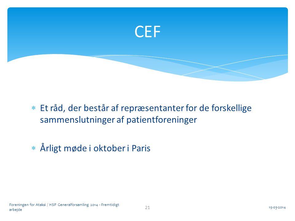 CEF Et råd, der består af repræsentanter for de forskellige sammenslutninger af patientforeninger. Årligt møde i oktober i Paris.