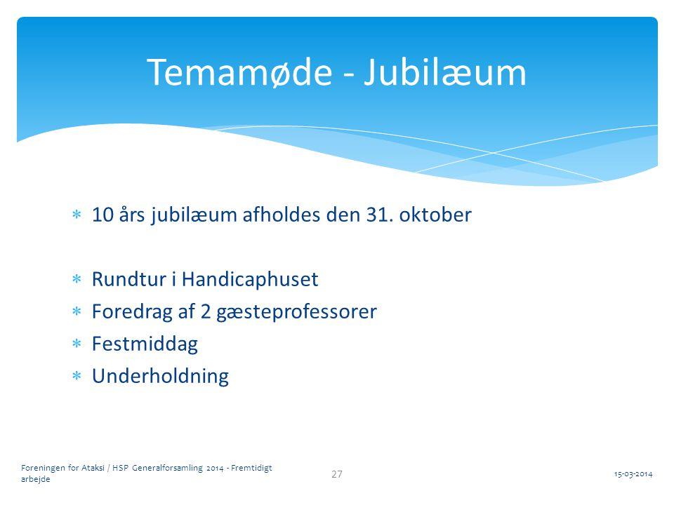 Temamøde - Jubilæum 10 års jubilæum afholdes den 31. oktober