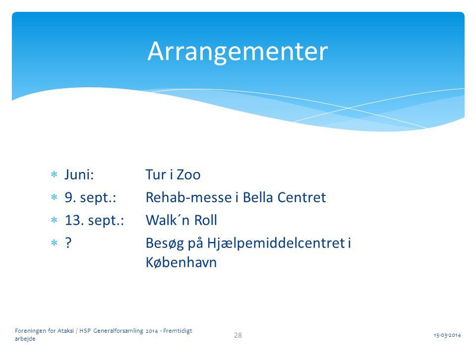 Arrangementer Juni: Tur i Zoo 9. sept.: Rehab-messe i Bella Centret