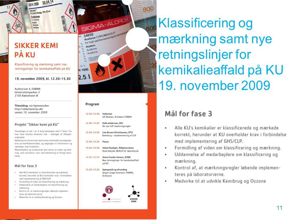 Klassificering og mærkning samt nye retningslinjer for kemikalieaffald på KU