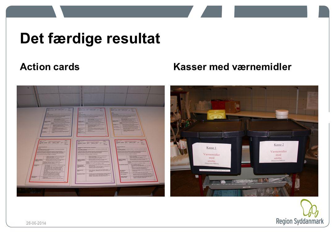 Det færdige resultat Action cards Kasser med værnemidler 03-04-2017
