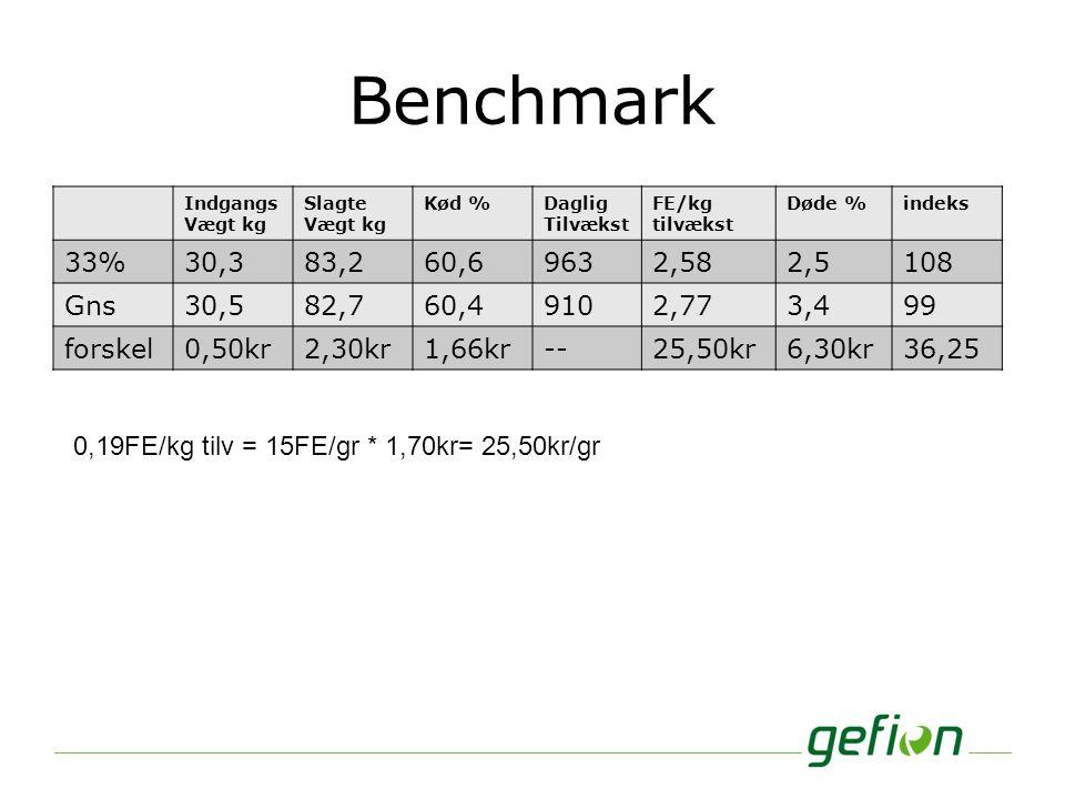 Benchmark Indgangs. Vægt kg. Slagte. Kød % Daglig. Tilvækst. FE/kg tilvækst. Døde % indeks.