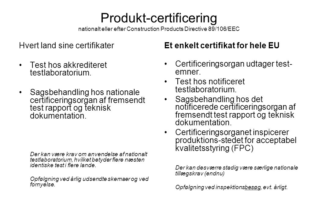 Produkt-certificering nationalt eller efter Construction Products Directive 89/106/EEC