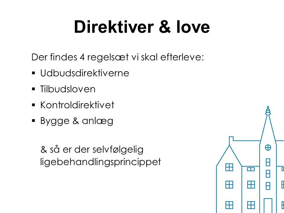 Direktiver & love Der findes 4 regelsæt vi skal efterleve: