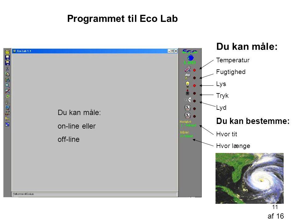 Programmet til Eco Lab Du kan måle: Du kan bestemme: Du kan måle:
