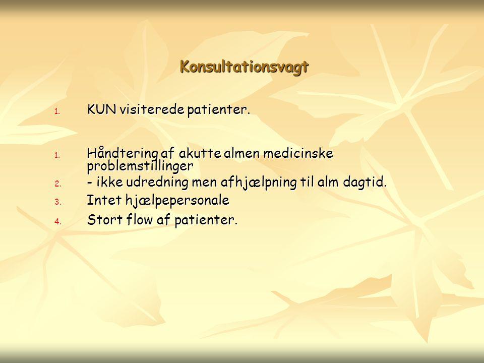 Konsultationsvagt KUN visiterede patienter.