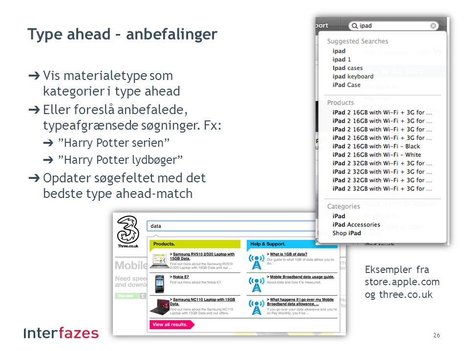 Type ahead – anbefalinger