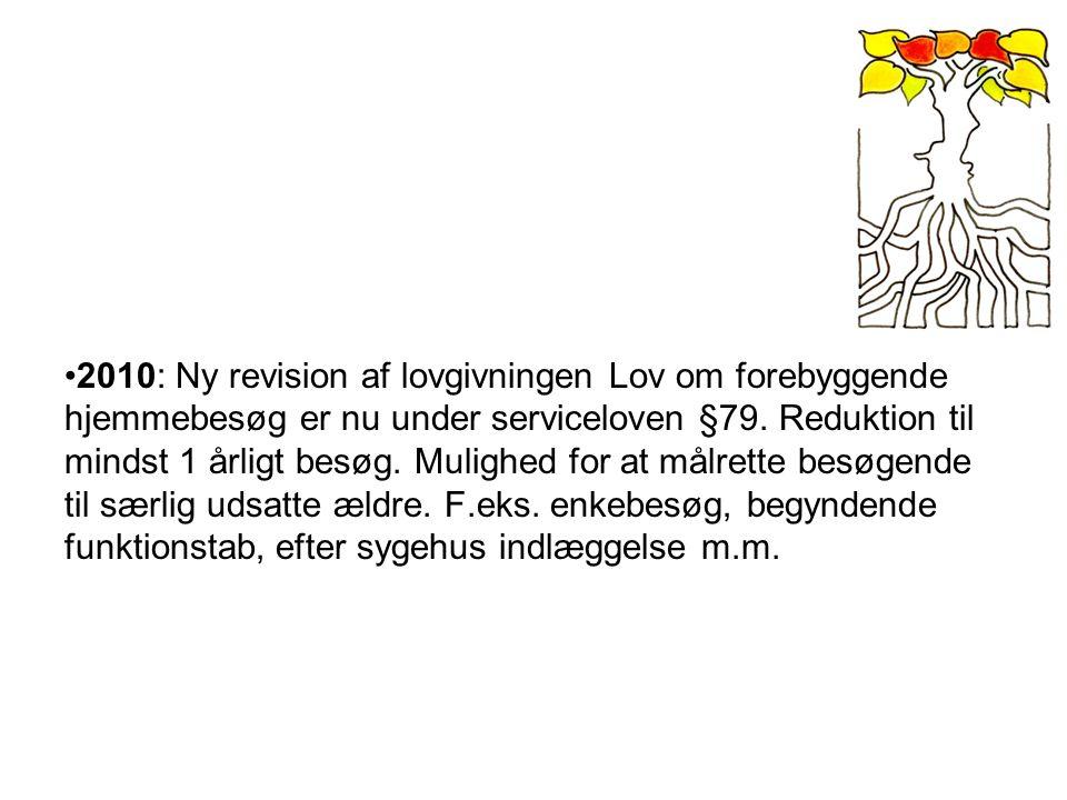 2010: Ny revision af lovgivningen Lov om forebyggende hjemmebesøg er nu under serviceloven §79.