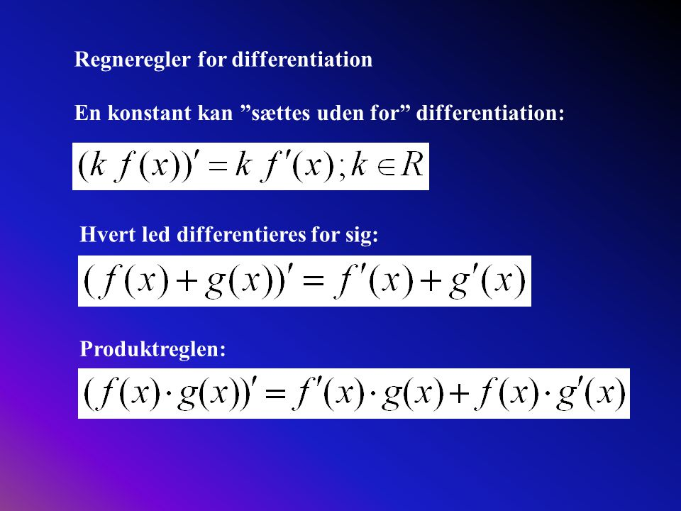 Regneregler for differentiation