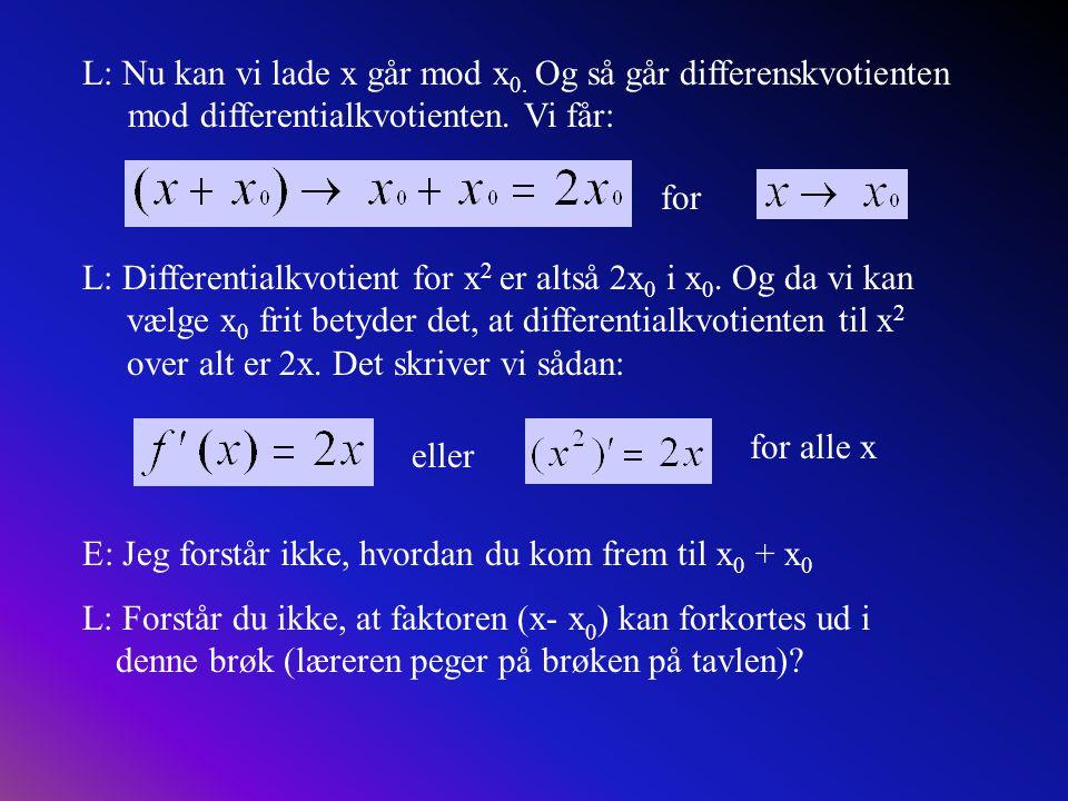 L: Nu kan vi lade x går mod x0