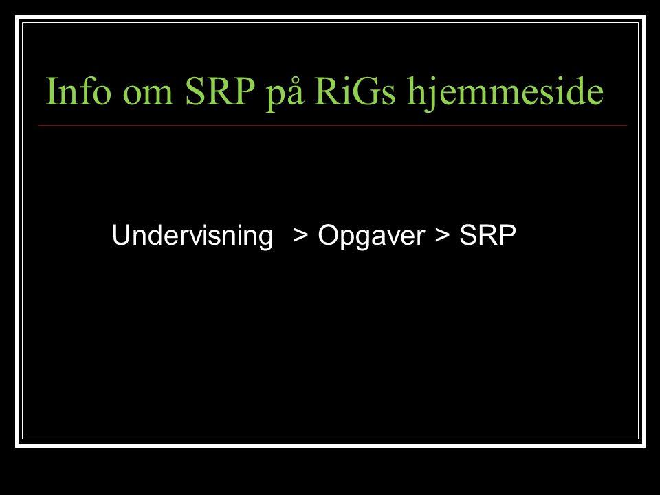Info om SRP på RiGs hjemmeside