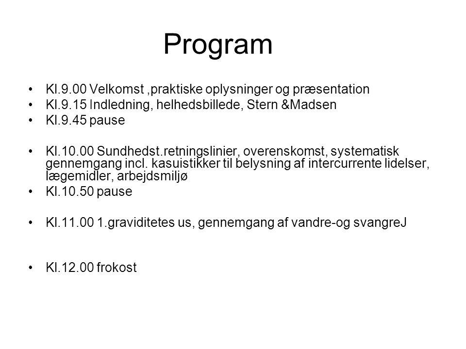 Program Kl.9.00 Velkomst ,praktiske oplysninger og præsentation
