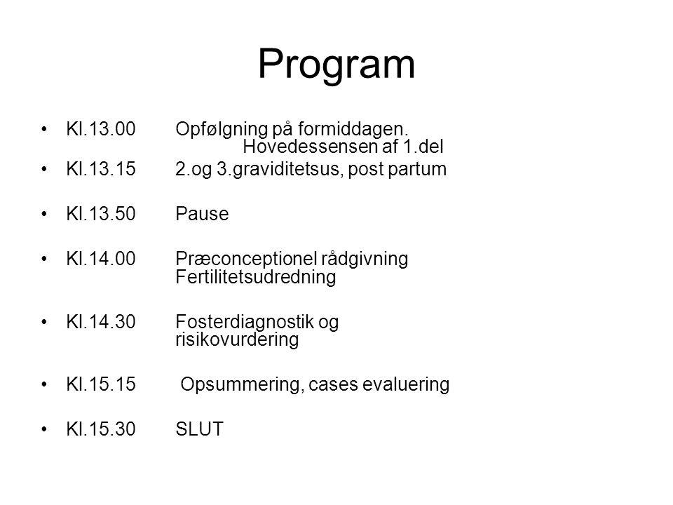 Program Kl.13.00 Opfølgning på formiddagen. Hovedessensen af 1.del