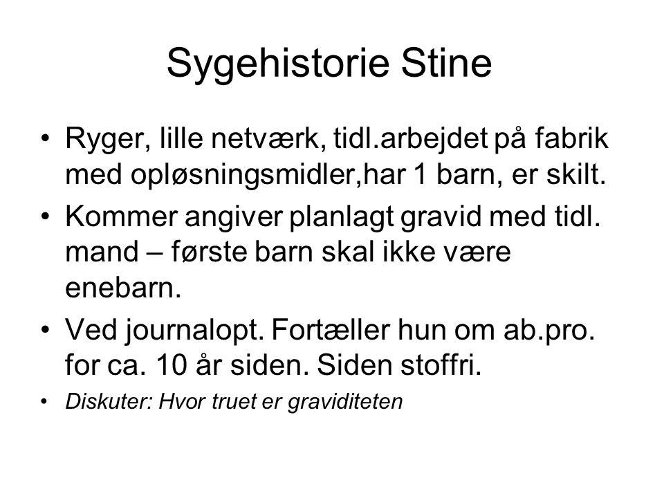 Sygehistorie Stine Ryger, lille netværk, tidl.arbejdet på fabrik med opløsningsmidler,har 1 barn, er skilt.