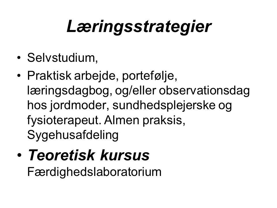 Læringsstrategier Teoretisk kursus Færdighedslaboratorium Selvstudium,