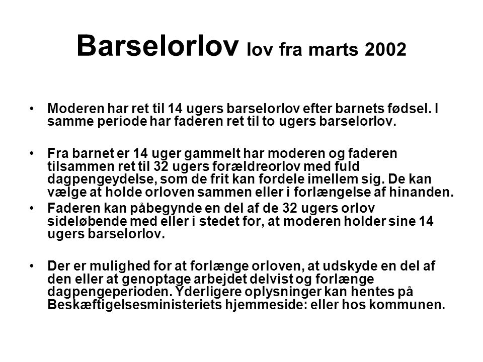 Barselorlov lov fra marts 2002