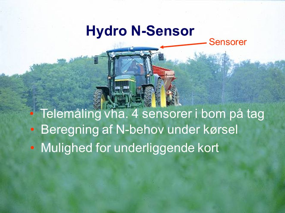 Hydro N-Sensor Telemåling vha. 4 sensorer i bom på tag