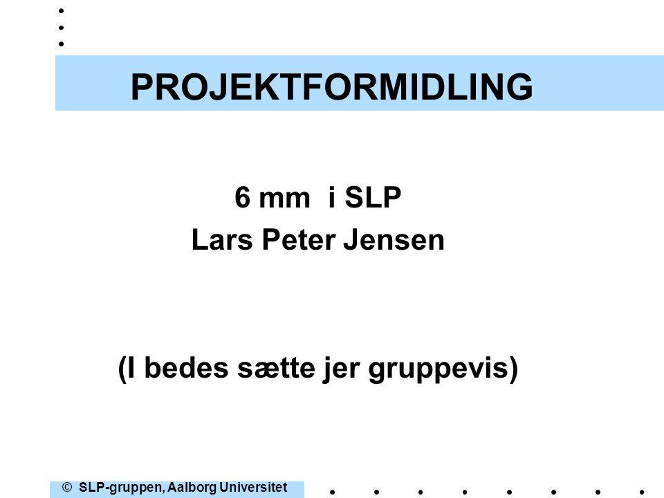 (I bedes sætte jer gruppevis) © SLP-gruppen, Aalborg Universitet