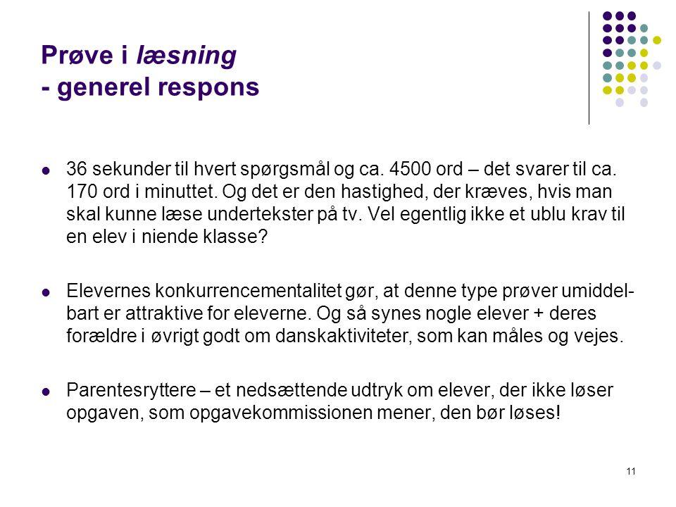 Prøve i læsning - generel respons