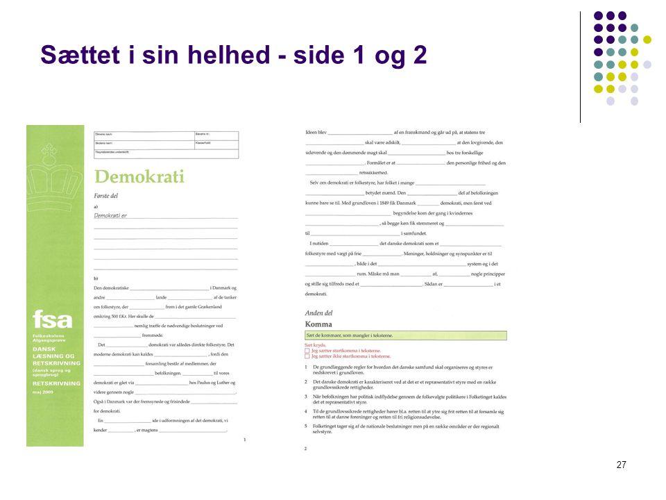 Sættet i sin helhed - side 1 og 2