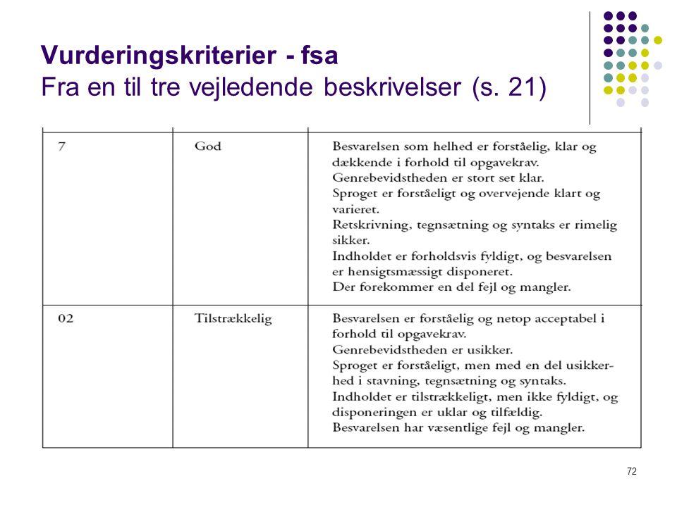 Vurderingskriterier - fsa Fra en til tre vejledende beskrivelser (s