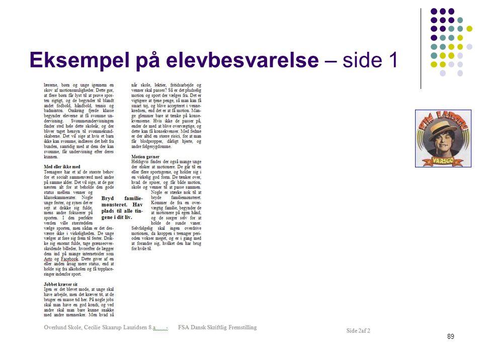 Eksempel på elevbesvarelse – side 1