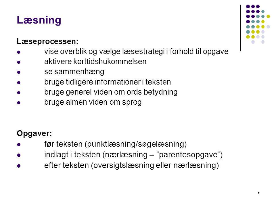 Læsning Opgaver: før teksten (punktlæsning/søgelæsning)