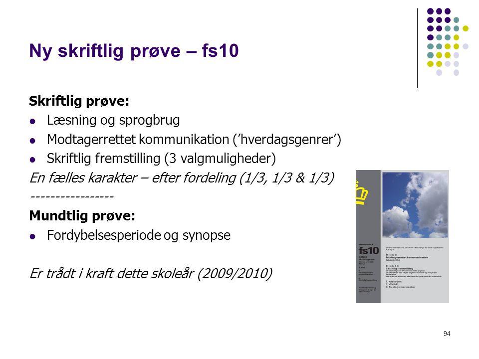 Ny skriftlig prøve – fs10 Skriftlig prøve: Læsning og sprogbrug