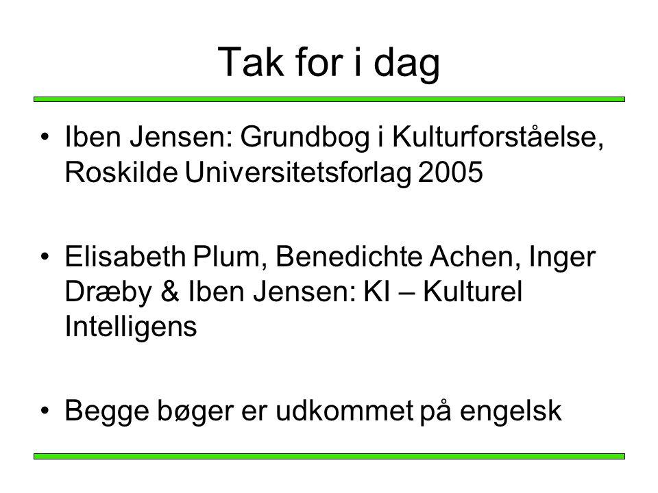 Tak for i dag Iben Jensen: Grundbog i Kulturforståelse, Roskilde Universitetsforlag 2005.